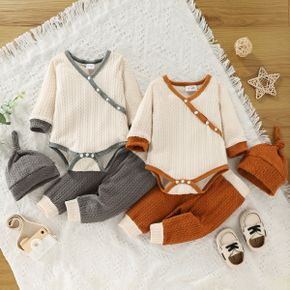 3-piece Baby Girl/Boy Surplice Neck Colorblock Long-sleeve Romper, Pants and Knotted Cap Set