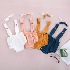 2-Piece Baby Solid Strappy Romper and Headband Set