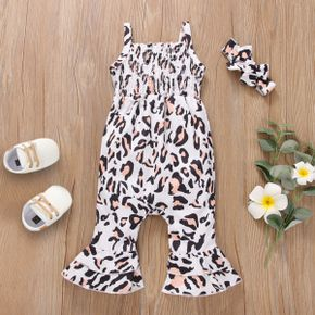 2pcs Baby All Over Leopard Shirred Bell Bottom Sleeveless Cami Jumpsuit Set