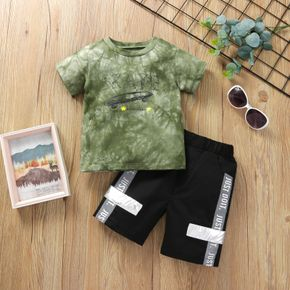 2-piece Toddler Boy Letter Tie Dyed Tee and Shorts Set