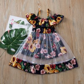 Toddler Girl Stylish Floral Allover Tulle Faux-two Onesies
