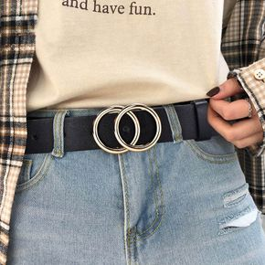 Women Leather Double Ring Buckle Belt Simple Vintage Solid Holes Belt Casual All-Match Lightweight Soft Long Waistband