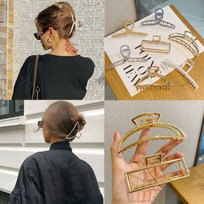 Retro Geometric Hair Claws For Women Clamps Crab Shape Hair Clip Golden Color Hairpin Jewelry Gift Accessories
