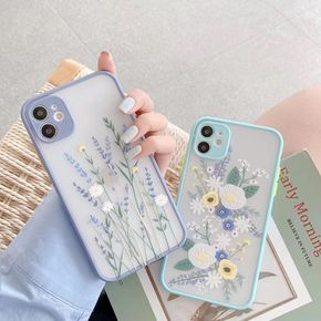 iPhone 7 8 Plus X XR XS 11 12 Pro Max Case for Clear Flowers Pattern Frosted PC Back 3D Floral Girls Woman Bumper Protective Silicone Slim Shockproof