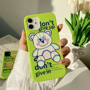 Cute Animal Bear White TPU Phone Case for iPhone 6S 7 8 Plus X XR XS 11 12 mini Pro Max Silicone Protective Sleeve