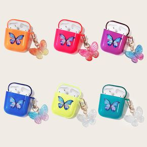 AirPods Case Cute Airpods 2 & 1 Case with Keychain Clear AirPods Accessories Skin Cover AirPods Case for Women Girl (Blue Butterfly)