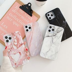 For iPhone 7 8 Plus X XR XS 11 12 Pro Max Mobile Phone Case Marble Pattern Glass Phone Case Simple Ins Protective Cover
