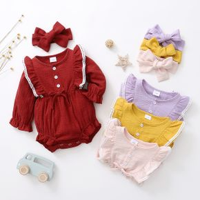 1pc Baby Girl Long-sleeve Cotton Romper  Jumpsuits