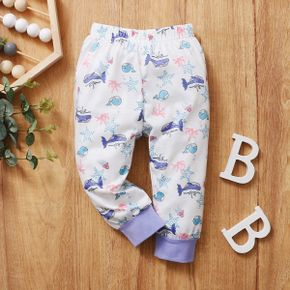 Dolphin and Whale Allover Splice White Baby Casual Pants Sweatpants