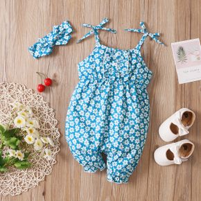 2pcs Floral Allover Sleeveless Blue Baby Sling Jumpsuit