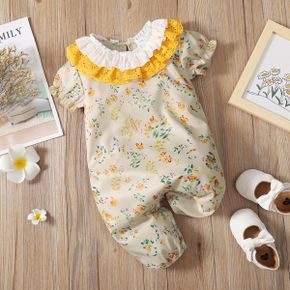 Floral Print Lace Collar Puff-sleeve Champagne Baby Jumpsuit
