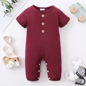 100% Cotton Solid Crepe Fabric Short-sleeve Baby Jumpsuit