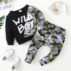 2-piece Toddler Boy Letter Camouflage Print Pullover and Pants Set