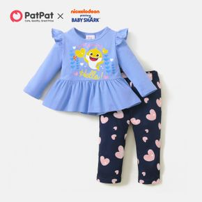 Baby Shark 2-piece Baby Girl Floral Top and Heart Print Pants Sets