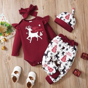 Christmas Baby 3pcs Reindeer and Letter Print Long-sleeve Romper and Pants Set