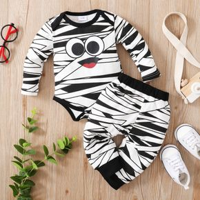 2pcs Cartoon Face and Abstract Stripes Print Long-sleeve Cotton Romper Set
