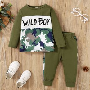 2-piece Toddler Boy Letter Dinosaur Camouflage Print Pullover Sweatshirt and Pants Set