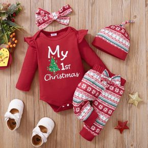 Christmas Baby 3pcs Tree and Letter Print Red Long-sleeve Romper and Pants Set