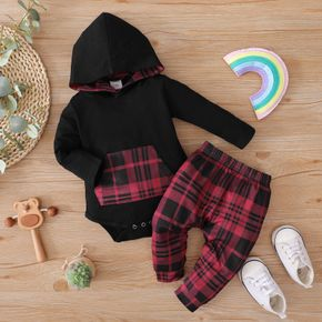 2pcs Baby Long-sleeve Hooded Romper and Red Plaid Trousers Set