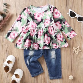 2pcs Baby All Over Floral Print Long-sleeve Top and Ripped Denim Jeans Set