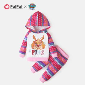 PAW Patrol 2-piece Little Girl Skye Christmas Cotton Hooded and Allover Pants Set