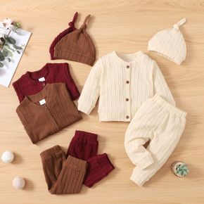 3-piece Baby Girl/Boy Solid Color Cable Knit Textured Sweater, Elasticized Pants and Knotted Cap Set