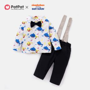 Baby Shark 2-piece Baby Boy Allover Front Button Shirt and Cotton Overalls Set