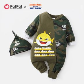 Baby Shark 2-piece Baby Boy Cotton Camouflage Jumpsuit with Hat