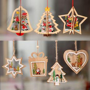 Christmas Wooden Hollow Pendant Snowflake Bell Christmas Tree Star Pendant Christmas Decoration Gift Christmas Tree Pendant