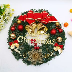 Christmas Wreath Garland with Bowknot Bells Merry Christmas Front Door Ornament for Christmas Party Decor Front Door Window
