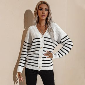 Black and White Stripe Button Long-sleeve Knit Cardigan