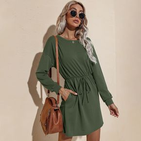 Solid Color Round-collar Long-sleeve Tie Front Dress