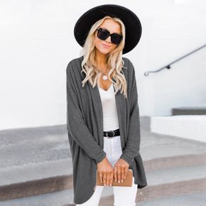 Solid Color Long-sleeve Knit Cardigan