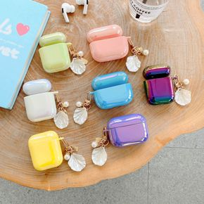 Glitter Silicone Case for Airpods Pro 1 2 Case Protective Cover Bluetooth Wireless Earphone Case with Pearl Shell Pendant