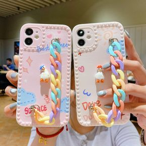 Wrist Chain Case for iPhone 12 11 Pro Max 7 8 Plus Xr Soft IMD Cases Cute Duck rainbow bracelet Chain Hanging Case for iPhone 12