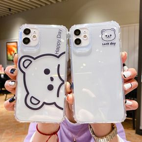 Cute Cartoon Bear Couples Soft Clear TPU Phone Case For iphone 12 11 Pro Max 12 MiNi 7 8 Plus X XS Max XR Funny Back Cover Case