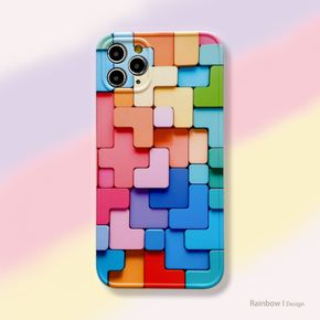 Colorful Rubik's Cube Phone Case for iPhone 11 12 Pro Max XS Max X XR 7 8 Plus Glossy Paint Box Soft Tpu Case
