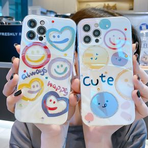 Cute Smiley Pattern Silicone Phone Case for IPhone 12 Pro Max 11 X XR XS Max 8 7 Plus Blu ray TPU Shockproof Shell