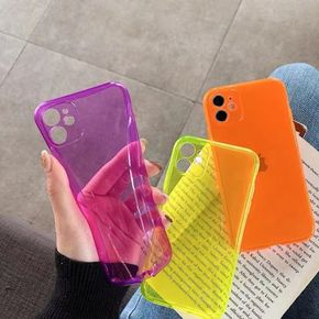 Camera Protective Phone Case For iPhone 12 11Pro Max XR XS Max 7 8 Plus X 11 Soft TPU Colorful Fluorescent Clear Anti-fall Cases