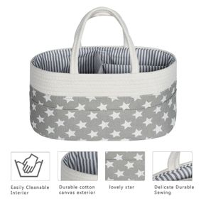 Baby Diaper Caddy Organizer with Detachable Divider and Invisible Pockets for Diapers & Wipes & Baby bottle (Grey Star)