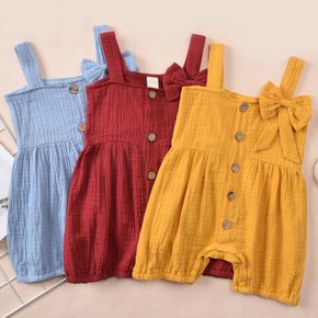 Baby Bowknot Button Front Strappy Bodysuit