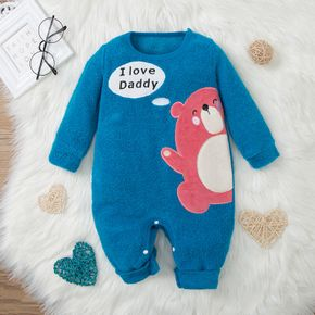 Cartoon Bear and Letter Print Blue Long-sleeve Baby Jumpsuit