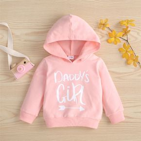 100% Cotton Letter Print Solid Long-sleeve Hooded Baby Sweatshirt
