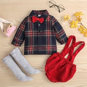 100% Cotton 3pcs Baby Bow Tie Long-sleeve Plaid Shirt and Suspender Shorts with Knee High Socks Set