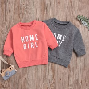100% Cotton Letter Print Long-sleeve Baby Pullovers