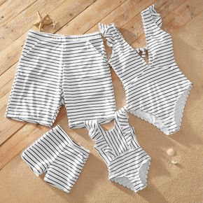 V-neck Knotted Striped Print Matching Swimsuits
