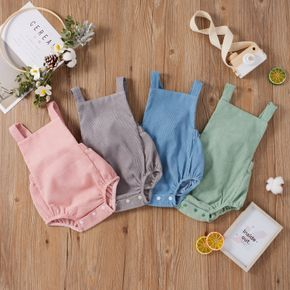 Solid Color Ribbed Fabric Baby Suspender Romper