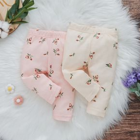 Baby All Over Floral Print Cotton Waffle Leggings Pants