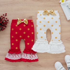 Baby All Over Polka Dots Bowknot Lace Ruffle Bell Bottom Pants Cotton Leggings