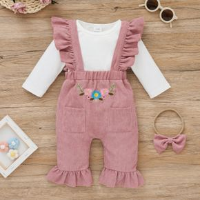 2-piece Baby Girl Long-sleeve White Romper and Floral Embroidered Ruffled Overalls Set